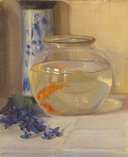 Blue and white, flowers, shimmer: yum! Margaret Preston (Australian artist, 1875–1963) The Fish Bowl, 1910, via Barbara of It's About Time.