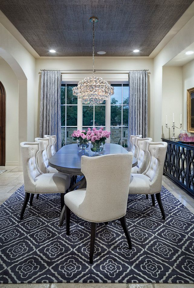 The Chic Technique Cream Colored Dining Room With Grey Rug Curtains And Ceiling