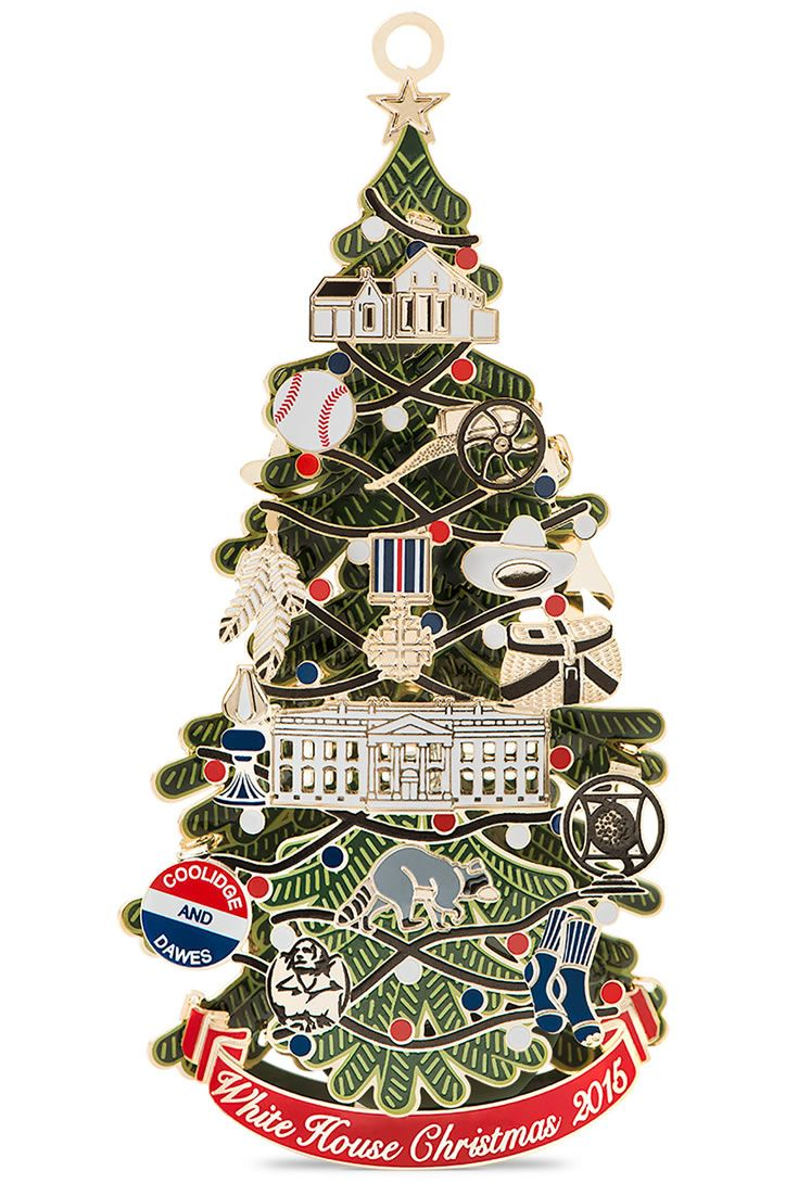 Large white christmas ornaments - The 2015 Official White House Christmas Ornament Honors President Calvin Coolidge And The First Electric Christmas