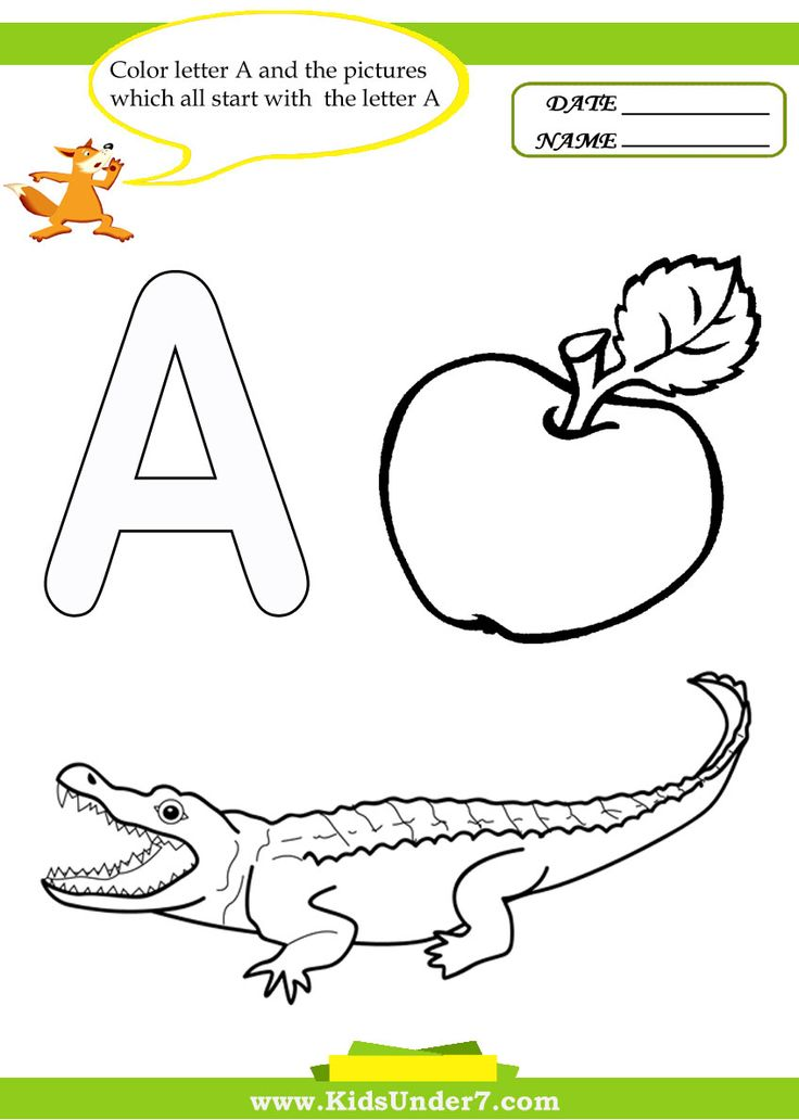 Kids Under 7 Letter A Worksheets and Coloring Pages