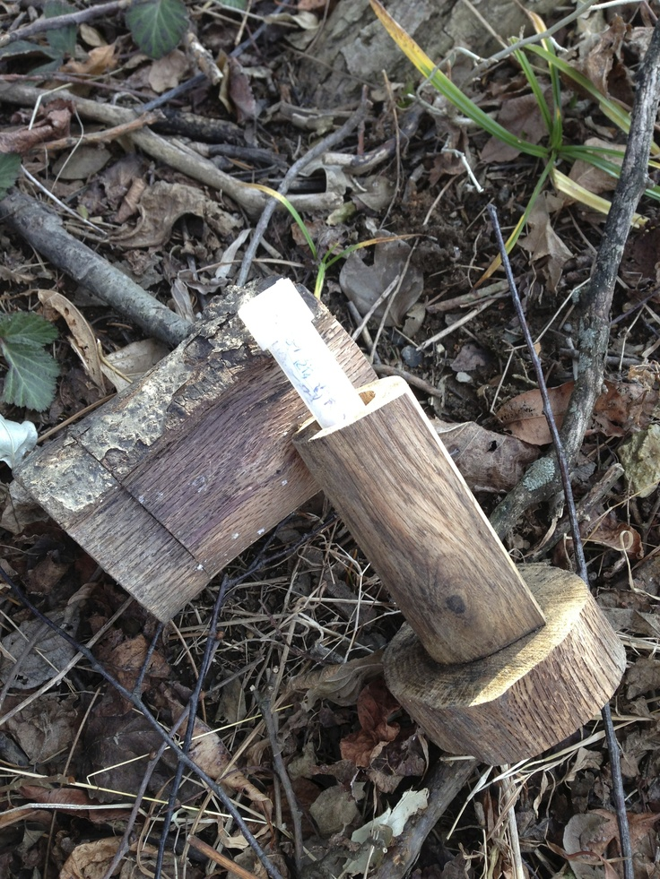 A Geocache disguised as a fake log.