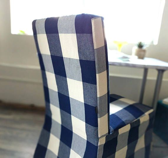 Swell Ikea Dining Chair Cover Buffalo Check Navy Blue Gmtry Best Dining Table And Chair Ideas Images Gmtryco