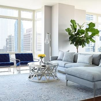Gray Sofa With Chaise Lounge And Blue Velvet Accent Chairs, Contemporary,  Living Room