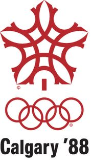 Calgary '88 Olympics logo - it looks like a snowflake but look closer and you'll see parts five rings that make up the Olympic logo.