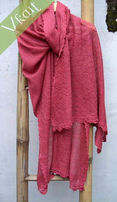 Stole : American beauty  60% silk & 40% cotton  Hand dyed & hand trimmed