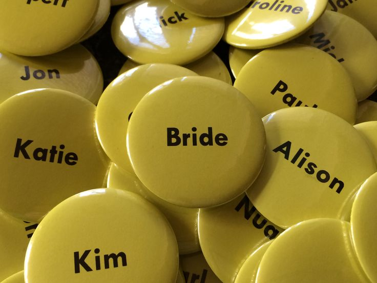 Wedding name button pin badges. Create to match the colour theme of your wedding.
