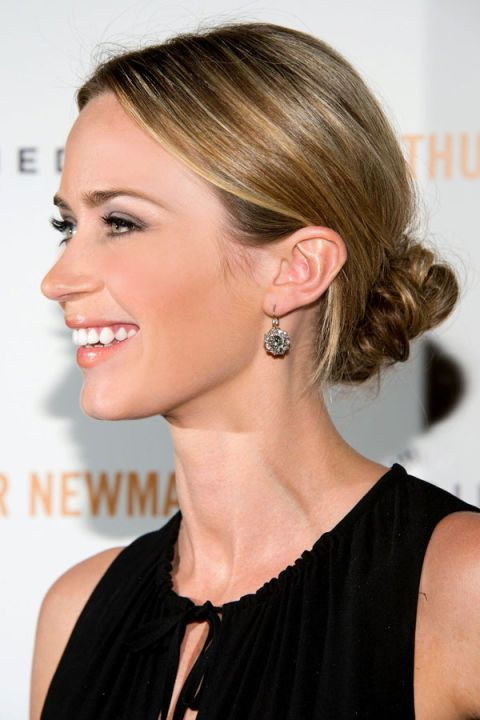 A new way to wear last season's topknot? Move it down about six inches to the base of your neck for a relaxed way to look chic. As seen on: Emily Blunt