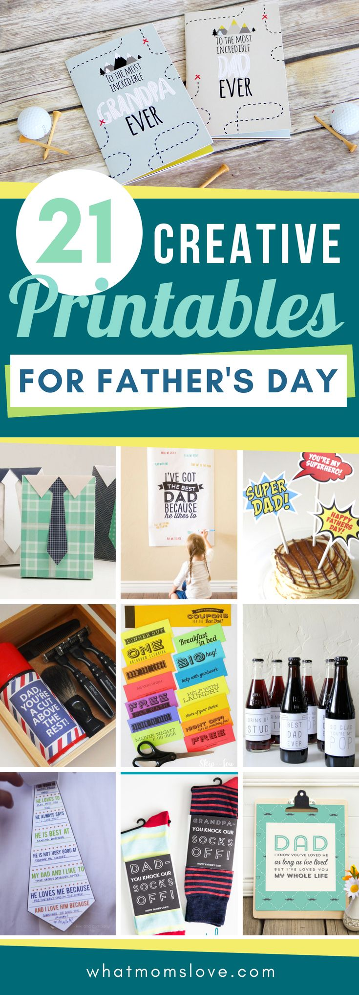 Fathers Day Free Printables | Easy ideas for Grandpa or Dad that you can print i...