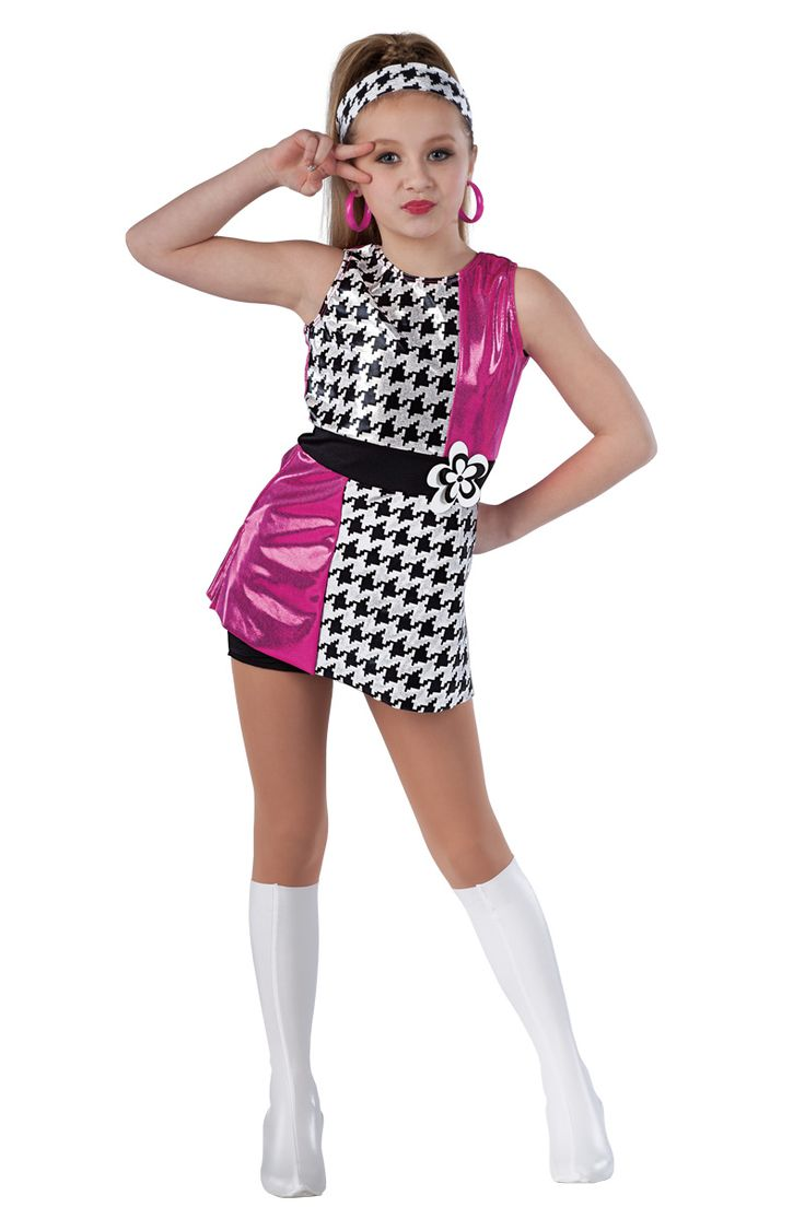 15283 These Boots Are Made For Walkin' | Tap Jazz Funk Disco Go-Go Dance Costumes | Dansco 2015 |  Cerise foil printed spandex mini dress with black/white houndstooth foil printed and solid black spandex inserts. Separate black spandex shorts. Flower applique trim.