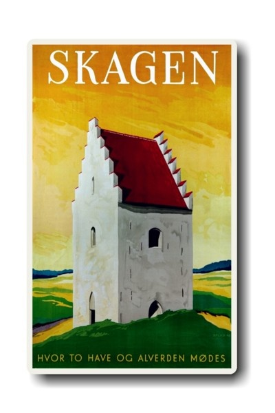 Den Tilsandede Kirke -Skagen - the top of Denmark! A travel poster by Hakon Spliid!