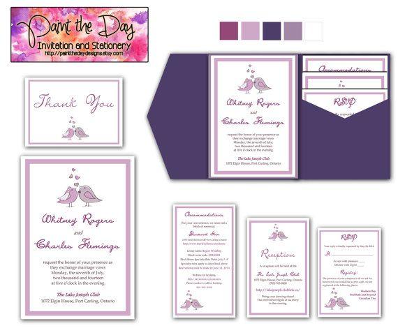 Love Birds Braut Bräutigam Hochzeit Pocketfold | Microsoft Word Vorlage |  Lila Grau | Dankeschönkarte