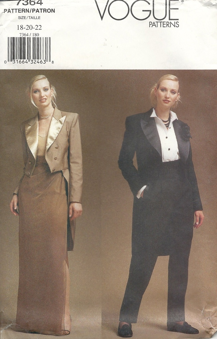 Vogue 7364 Tuxedo jacket, skirt & trousers. Bought for 99c in sale at Sallys.: Tuxedo Jackets, Tuxedos Jackets, 7364 Tuxedos