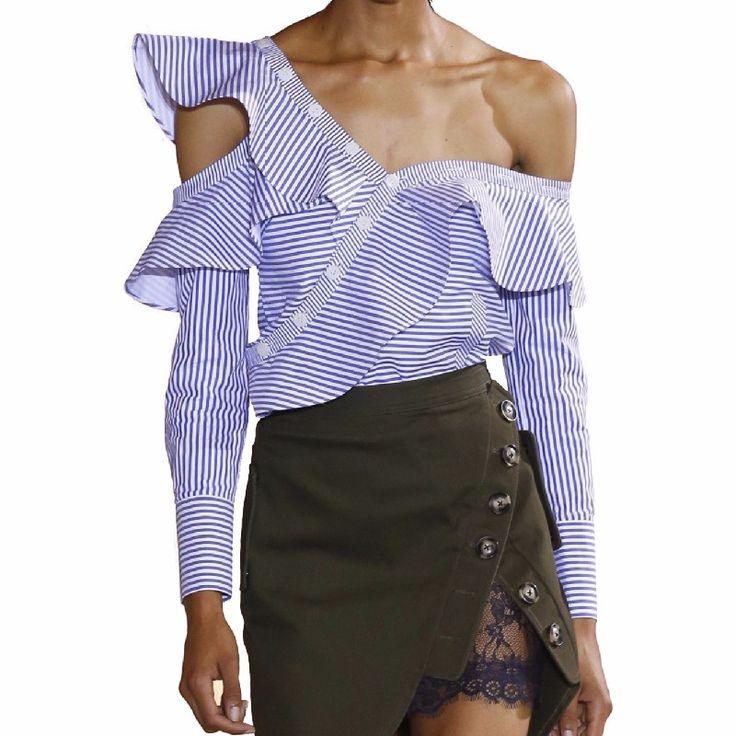 One Shoulder Off Ruffles Blue Striped Long Sleeve Blouse Shirt - uniqistic.com/