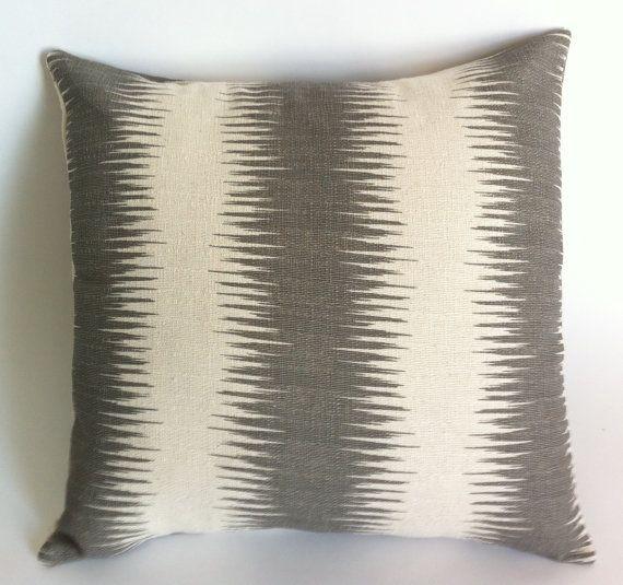 Coussin décoratif fermeture à glissière housse gris et crème Ikat impression 20 x 20 pouces coussin rayures-8D7G