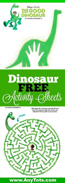 Dinosaur Party Ideas. Use this Dinosaur Free Printable Activity sheets from The Good Dinosaur movie. Craft, Maze Game, Connect the Dots sheets. Visit www.anytots.com for more party ideas and free printables.