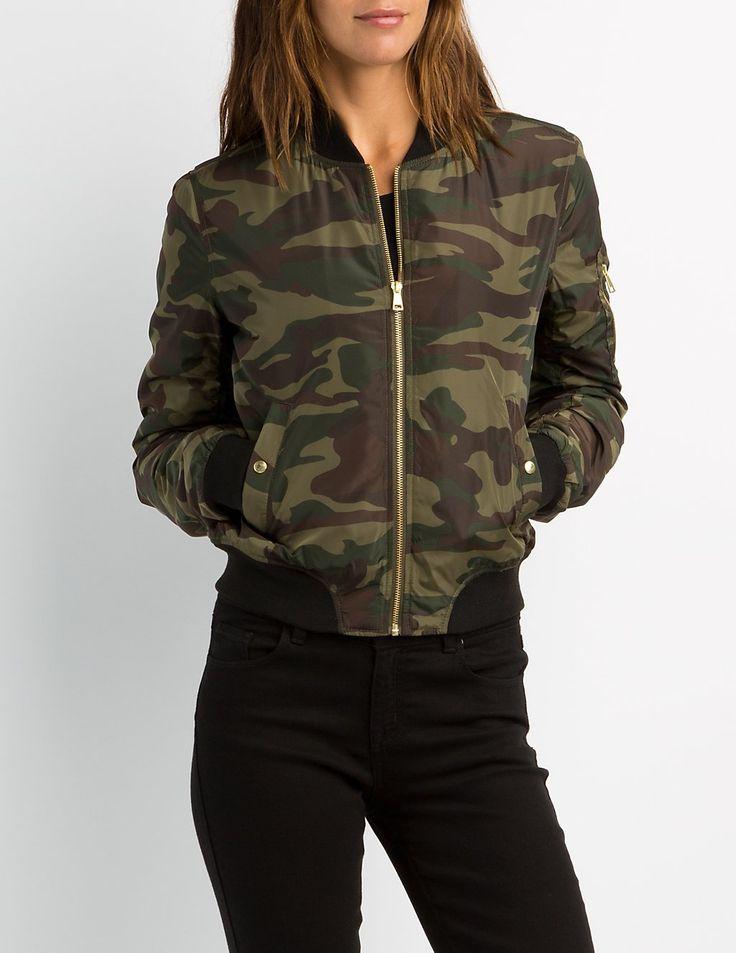 Camo Bomber Jacket   Charlotte Russe