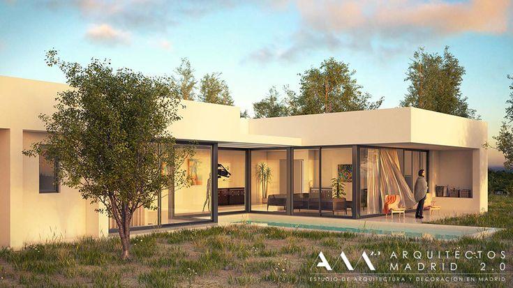 Exterior piscina porche moderno casas via for Casas modernas pequenas de una planta