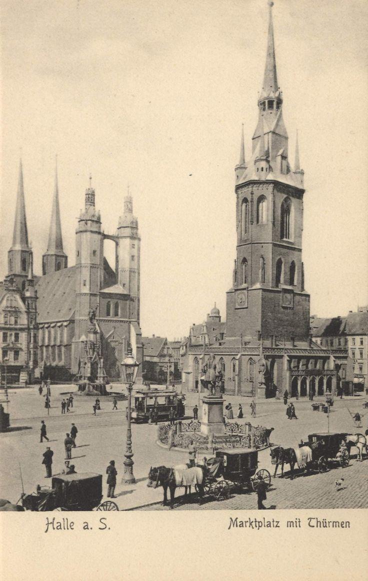 Halle (Saale), Sachsen-Anhalt: Marktplatz mit Türmen