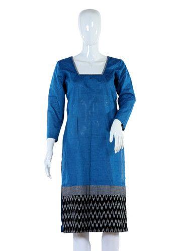 Blue Kurta with Black Ikat – Desically Ethnic ###Blue Kurta with Black Ikat