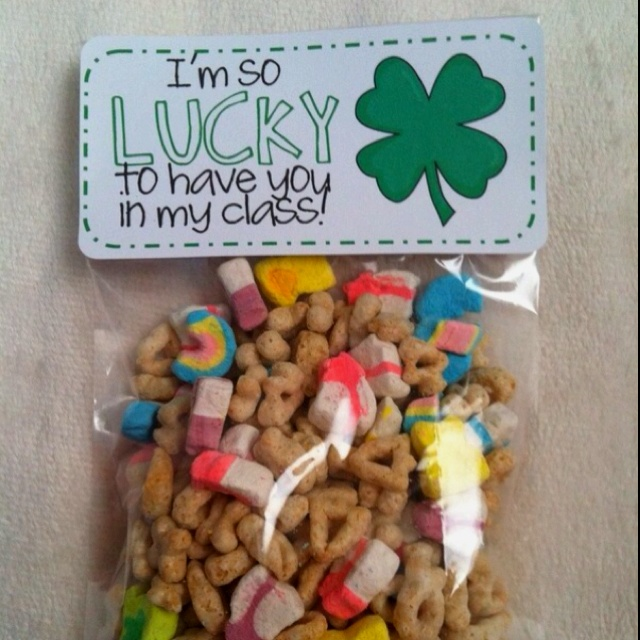 St. Patricks day classroom treat gifts for kids. Im so lucky to have you in my class sooo cute lucky charms