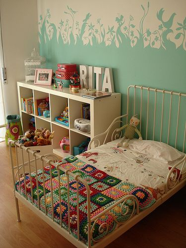 so, i know this is a kid's room,  but i would love something similar for me! the color of the wall, the bed frame, and the coverlet.