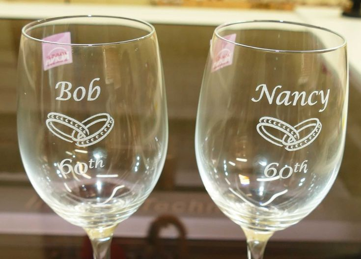 Wine glasses or Champagne flutes custom engraved. Optional images or photo's