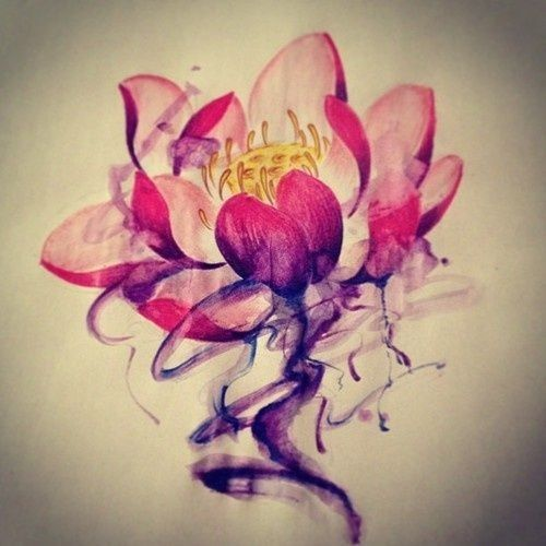 marvelous red lotus watercolor tattoo - yellow lotus seedpod. Gorgeous