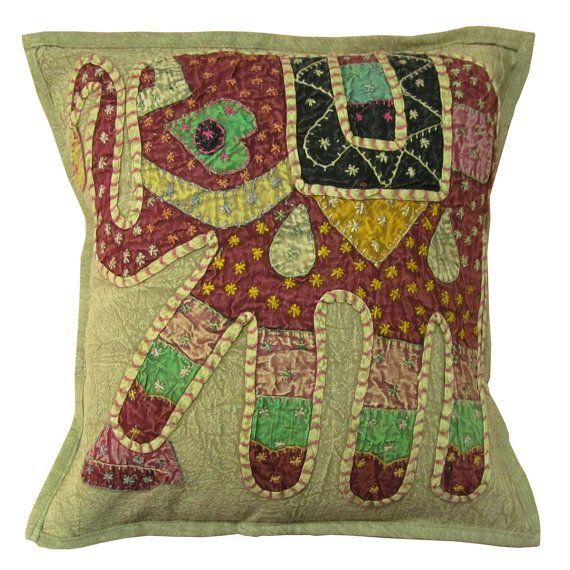 hippie bohemian indian elephant embroidery pillow throw