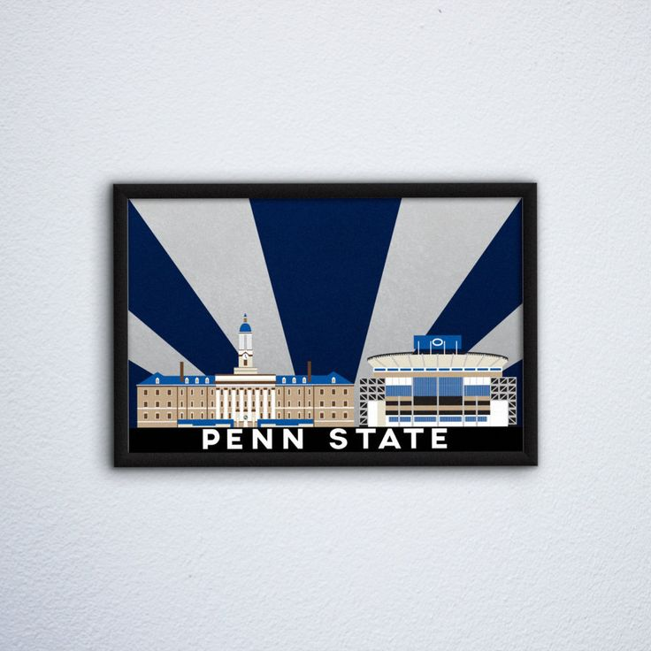 "Penn State Campus Poster ft. Old Main & Beaver Stadium - Pennsylvania State University, University Park Nittany Lions  (12"" x 18"") by WEPdesign on Etsy"