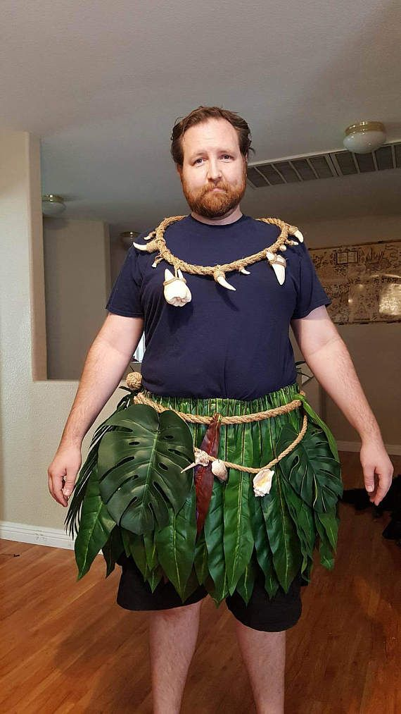 To complete this order I will need the measurement of where this will be sitting on your waist/ hips!!!  This skirt will make you feel like a demi god! Inspired by Maui from the new movie Moana, you will be able to teach all the wayfinding you want with this replica leaf skirt.  The man picture in the photo is 6 tall. This price listing is for waist sizes up to 52. The leaves and skirt are approx 19 inches long. The skirt base is made up of over 95 faux leaves with 20 more added decorati...