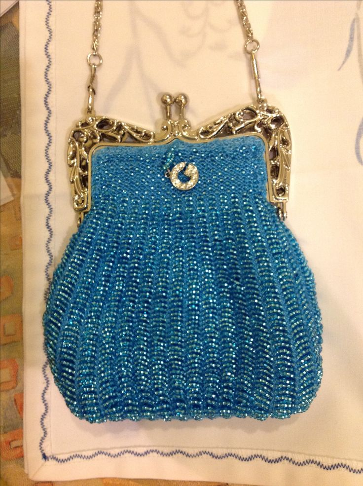 Hand knitted purse by me using 1.500 tiny beads