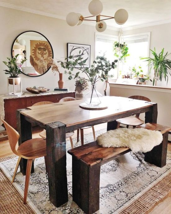 Boho Dining Space With A Wooden Set And Mid Century Modern Chandelier Chic Dining Room Dining Room Combo Farmhouse Dining