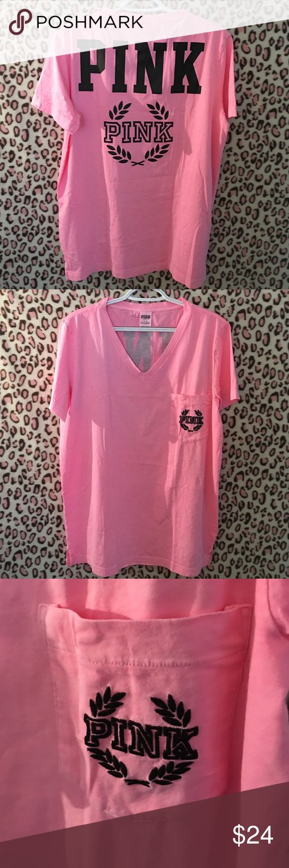 Campus V-Neck Tee PRICE FIRM Ordered from VS. I have never worn this, however, I did open the packaging in order to confirm size, & photograph garment. You will receive as it was originally folded and inside the plastic package that displays the upc and item codes; however, the plastic package will show that it has been open. Color: Beverly Hills Pink. Size: Medium (runs bigger-could fit Large). Brand: PINK PINK Victoria's Secret Tops