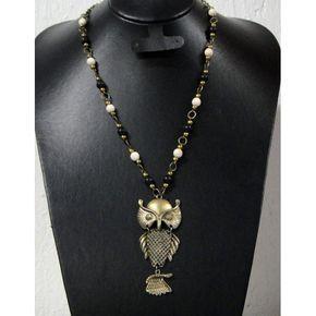 collares de buho | Collar de Moda con Piedra Turquesa y Dije de Buho