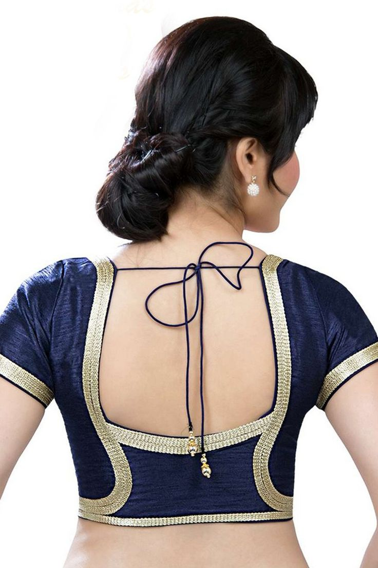 Midnight #blue festive wear raw silk #blouse with round #neck -BL635