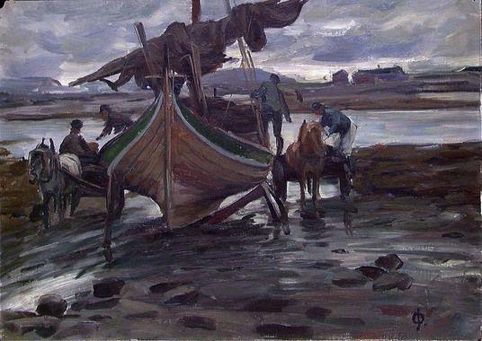Digitalt Museum - Nordlandsbåt [Maleri] - Petra Theodora Flakstad, on Ole Juul