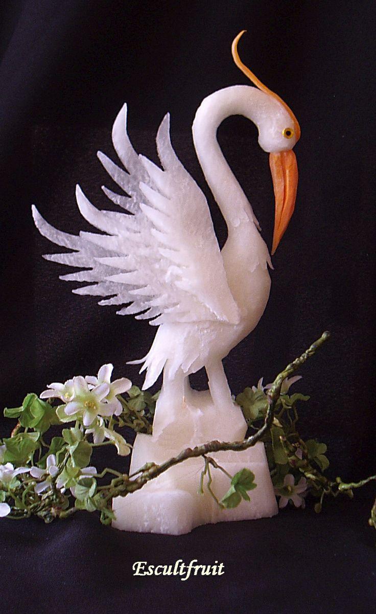 bird carved from daikon radish