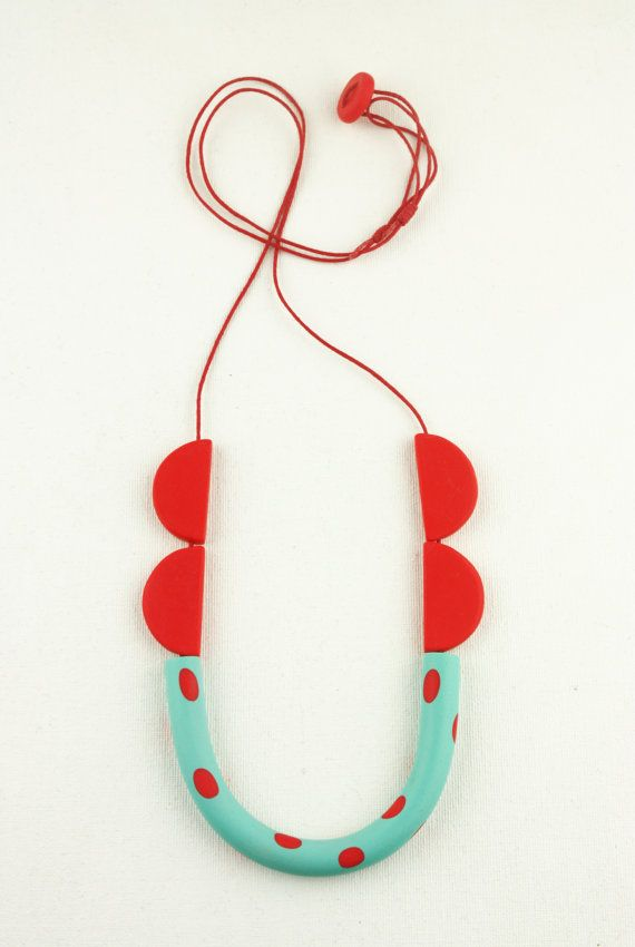 Red turquoise necklace, minimal funky, polymer clay cotton cord jewelry