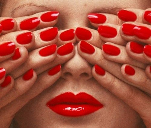 Face,Fashion,Fingers,Guy bourdin,Hands,Lips,Lipstick,Nails,Nail polish,Red lips,