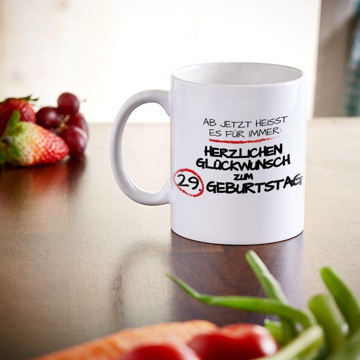 Die Zeit anhalten kann unsere Tasse - Für immer jung - personalisierter Becher nicht. Aber ein lustiges Geschenk zum Geburtstag ist er auf jeden Fall.