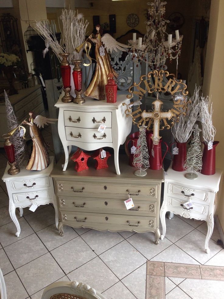 Christmas display with chest of drawers and nightstands