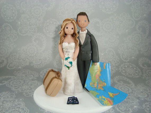 Customized Bride  Groom Travel Theme Wedding Cake by mudcards, $135.00