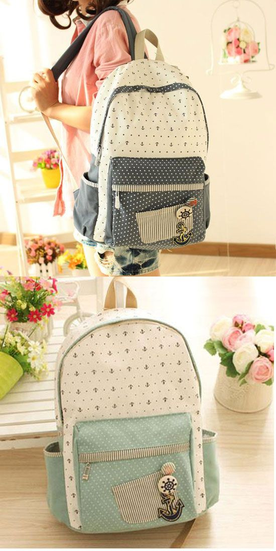 Floral Anchor Dot British Institute Style Canvas Backpack/Computer Bag for big sale! #dot #backpack #bag #canvas #school #student #anchor