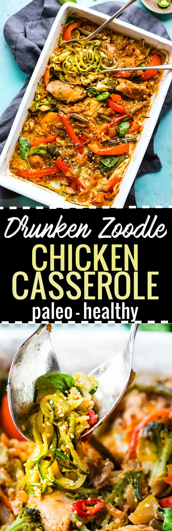Paleo Drunken Zoodle Chicken Casserole takes a spin on the original Pad kee mao Asian stir fry and puts in casserole form.  Noodle Zoodle Chicken Casserole with tons of flavor, Thai spices, and simple healthy ingredients! Light and delicious.    *Updated* ingredients and cooking times on http://www.cottercrunch.com/