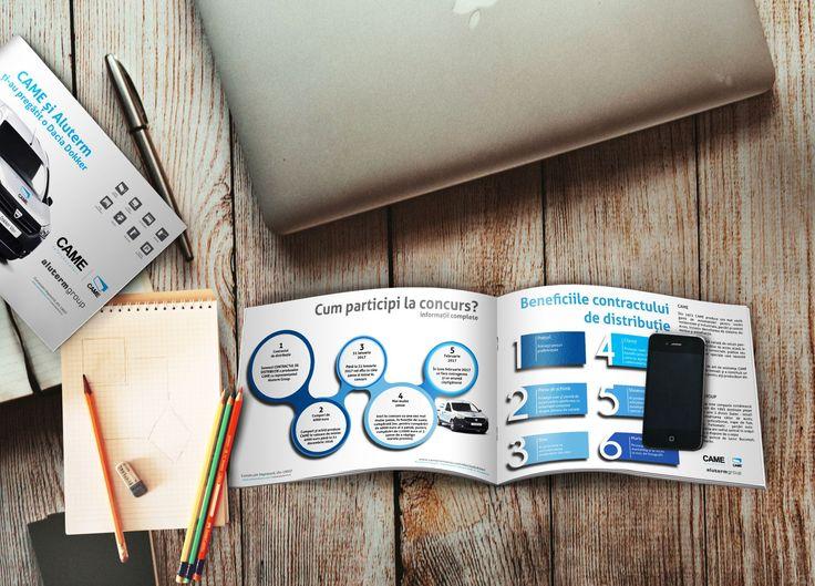 Brosura CAME, brosura realizata pentru Aluterm Group, format A5, landscape, design simplu, curat. marketing, design, brochure