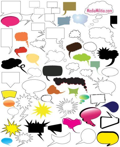 Düşünce ve konuşma balonları ücretsiz vektör bohça