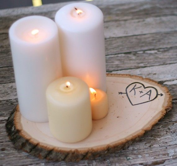 Personalized Wood Tree Slice Candle Stand (Center Piece)