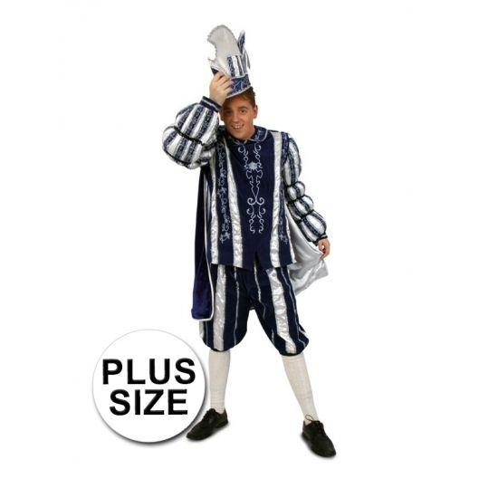 Grote maten Prins Carnaval kostuum blauw wit. Dit prachtige blauw/witte Prins Carnaval kostuum bestaat uit de broek, jas en cape.