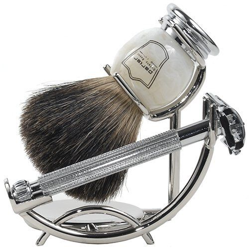 Premium shaving set with parker safety razor and badger hair shaving brush