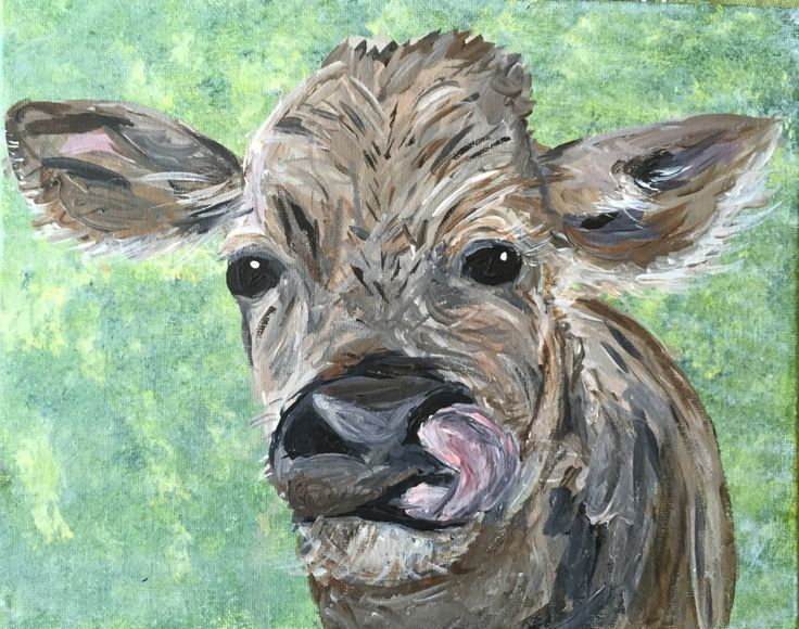 Calf portrait, small painting, 8x10in, Baby Cow, Farm animal wall art, animal portrait, impressionist, funny art, colourful art by FHarrisArtShop on Etsy